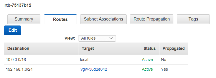 Adding static routes to VPC