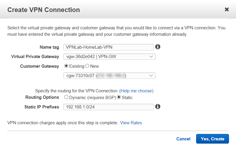 Creating VPN connection on AWS