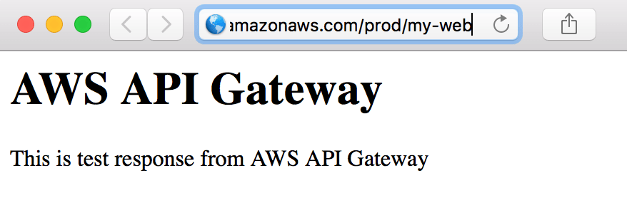 Static HTML generated by API Gateway