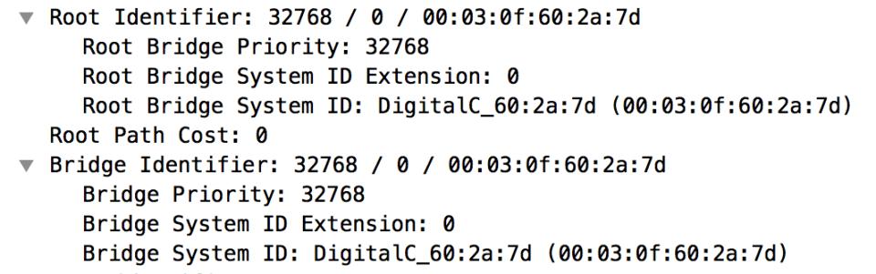 Root Identifier and Bridge Identifier