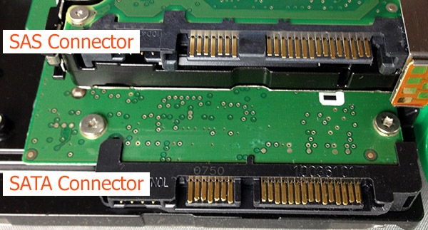 Showing the difference between a SAS and SATA connector