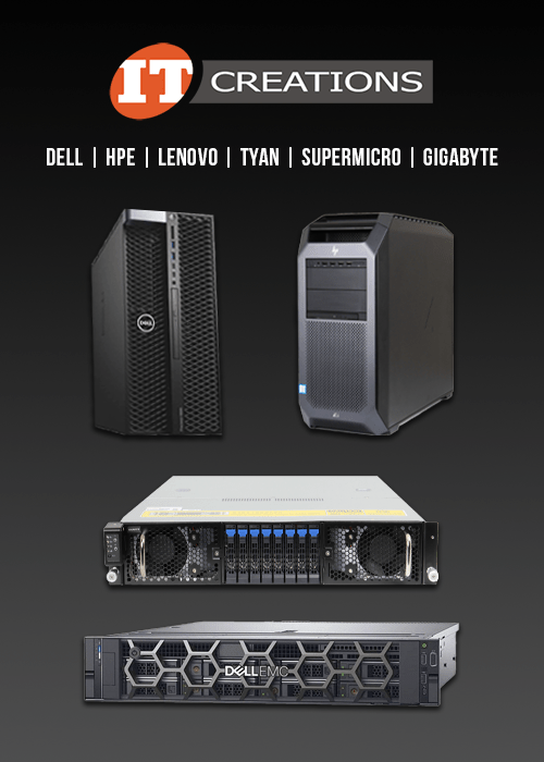 IT Creations side ad on blog with servers and workstations like Dell, HPE, and Gigabyte
