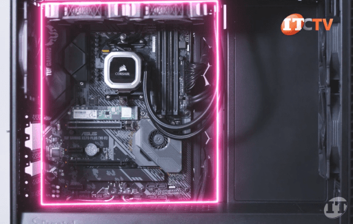 ASUS x570 motherboard with Corsair cooling system inside black Fractal Design Define 7 case