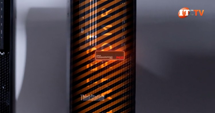 AMD Threadripper Pro P620 logo badge on Lenovo Thinkstation