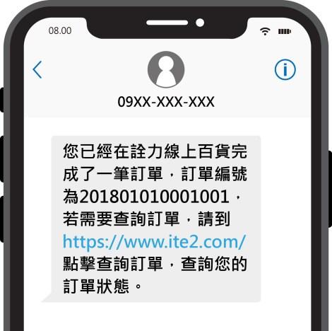 訂單通知簡訊應用情境