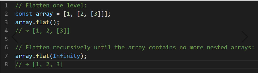 JavaScript ES2019 Array.prototype.flat()