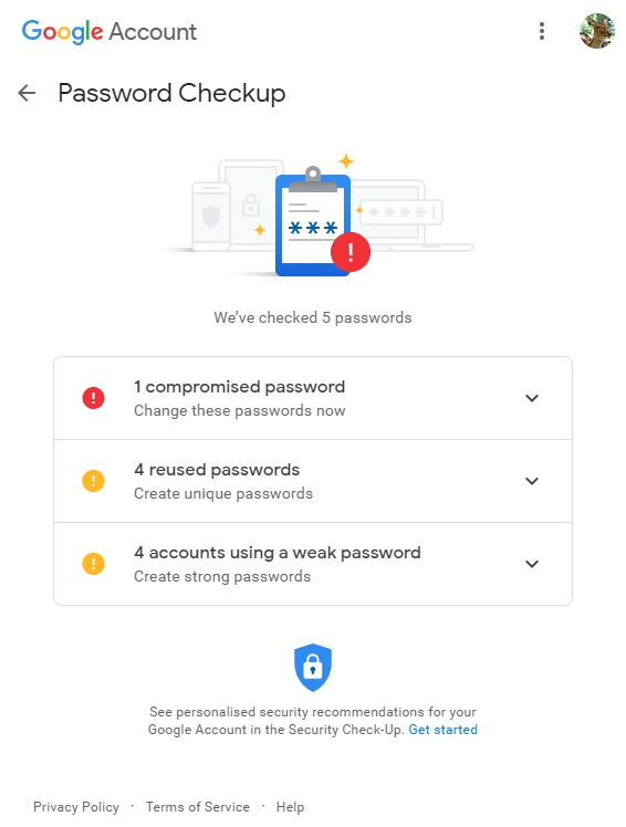 The Security basics of Social media: Password Checkup tool