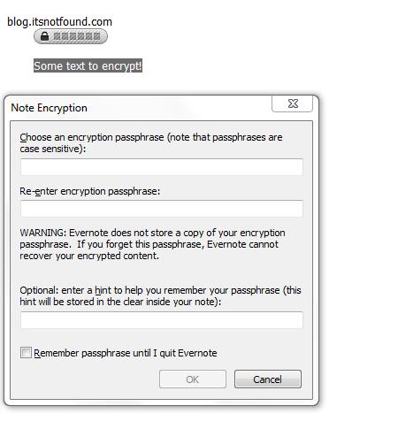 Evernote Encryption Dialog