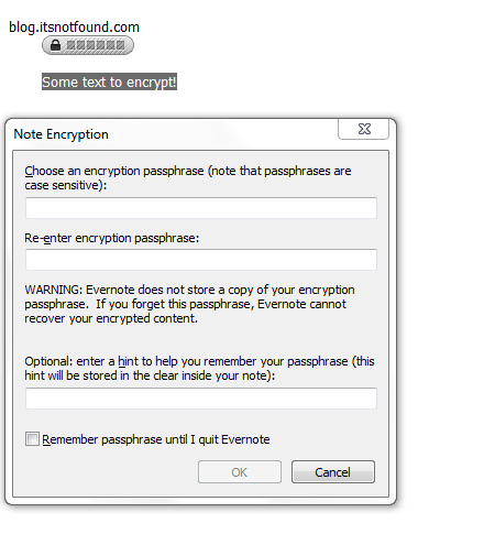 Evernote Encryption Dialog