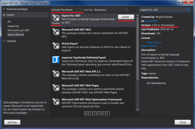 how to install prerelease nuget package