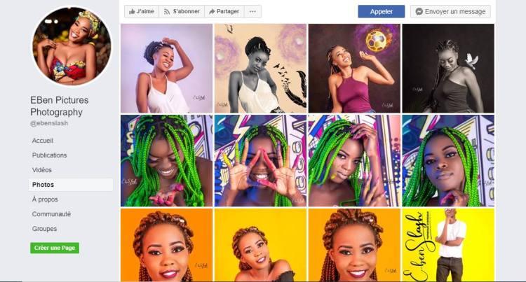 Interface Facebook de la page d'Eben Slash, photographe qui utilise les réseaux sociaux pour la promotion de son travail