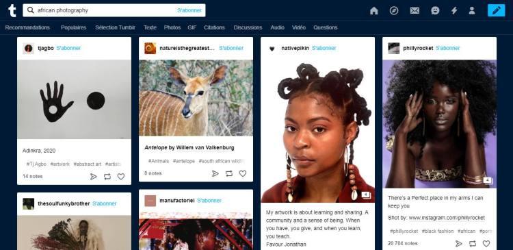 Interface de Tumblr, top 5 des réseaux sociaux pour photographes