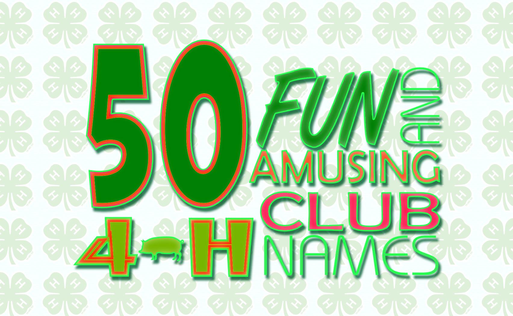 Iza Design Blog 50 Fun And Amusing 4 H Club Names