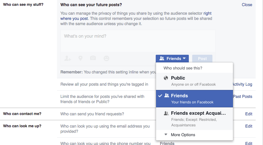 Facebook: Change who can see your posts.
