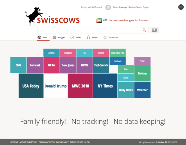 Screenshot of the search engine Swisscows
