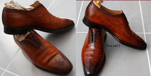 finition patine sur chaussures en cuir
