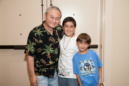 Cartoonist Stan Sakai with super fans Daniel and Ben Klosterman.
