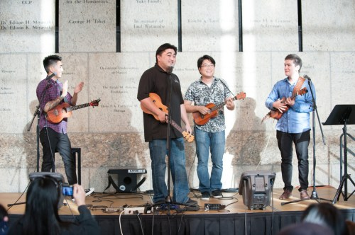 The festival closed with an All-Star jam finale featuring Jason Arimoto, Tj Mayeshiro, Ryo Montgomery, and Brian Benevente! Photo by M Palma.