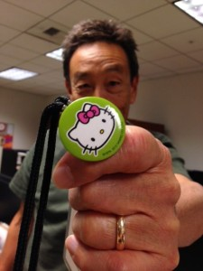 Even John, Director of Media Arts, can't resist showing off a little Hello Kitty cheer on his JANM lanyard.