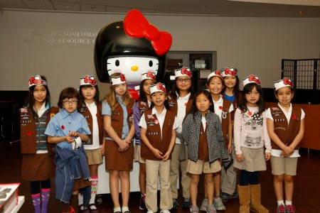 Girl Scouts visit JANM for a special Hello Kitty workshop, February 7, 2015. Photo: Russell Kitagawa.