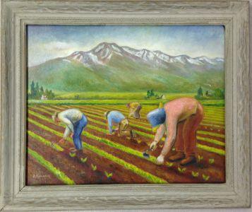 Jack Yamasaki, Thinning Sugar Beets (1942), oil on canvas. Japanese American National Museum, Gift of Dick Jiro Kobashigawa.