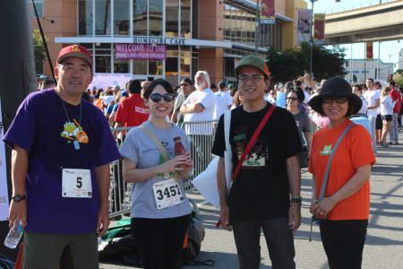 JANM volunteer Michael Okuda, staffer Sylvia Lopez, Hirotami Ogawa, and his wife, volunteer Kyoko Ogawa, at Every Angeleno Counts. Photo by Richard Murakami.