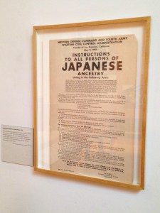 Civilian Exclusion Order on display in the JANM galleries.