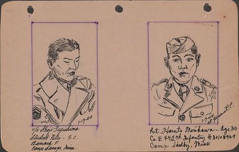 George Hoshida, Shoji Fujishima and Haruto Morikawa, 1944, ink on paper. Japanese American National Museum. Gift of June Hoshida Honma, Sandra Hoshida, and Carole Hoshida Kanada.