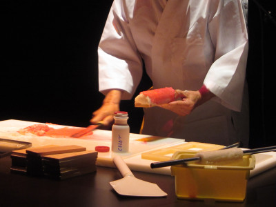 During a summer 2011 public program, Frank Kawana demonstrates how to make kamaboko (Japanese fish cake) by hand.