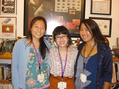 Alyctra Matsushita, right, with Discover Nikkei interns Maya Kochiyama and Krista Chavez. Photo courtesy of discovernikkei.org.