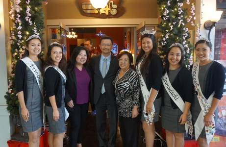 The 2015 Nisei Week Court at lunch with representatives of Union Bank.