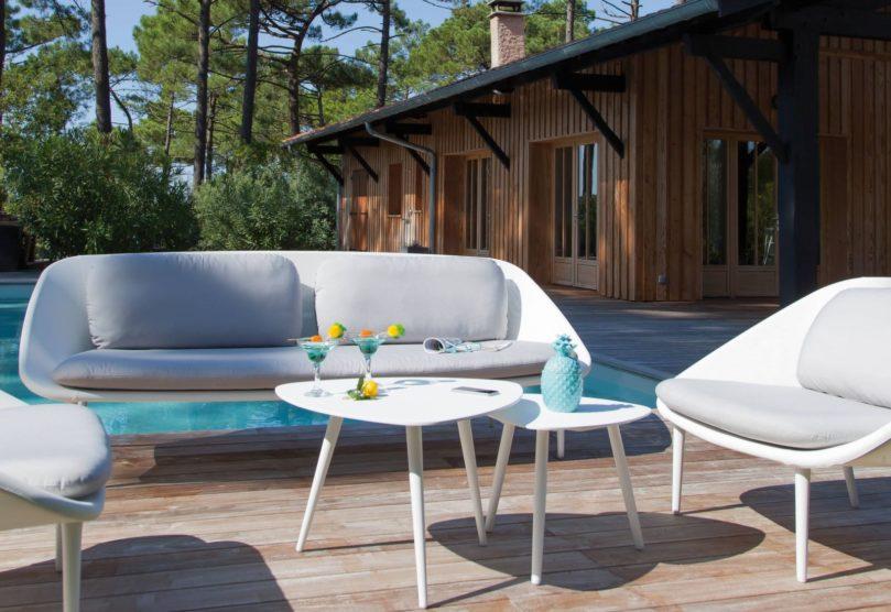 mobilier de jardin blanc canape phenix