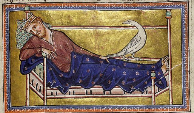 Un caradrio o caladrio mira hacia un rey enfermo