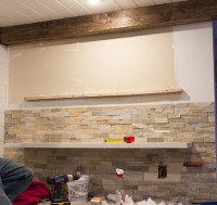 Kitchen Chronicles: Stacked stone bar wall & DIY floating ...