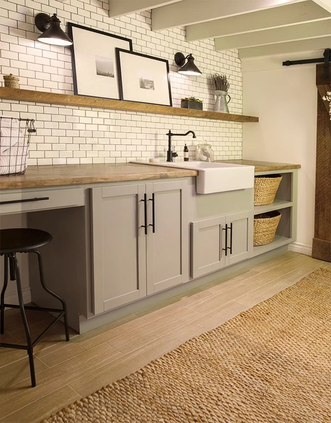 neutral industrial laundry room, Jenna Sue Designs