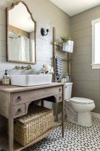 Guest Bathroom Vanity Refinish: Weathered Wood & Lime ...