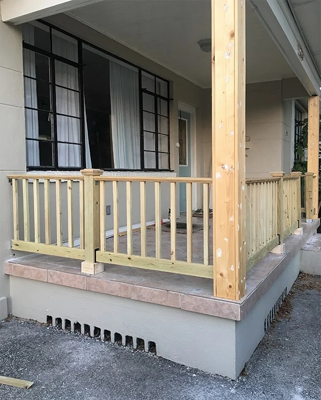 Diy Porch Railing Riverside Retreat Curb Appeal Phase 1 | Disabled Handrails For Outside Steps | Elderly | Full Width | 2 Step | Outdoor | Industrial Pipe