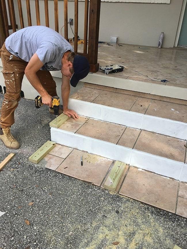Simple Diy Wood Porch Steps Makeover   Wood Steps Over Concrete Steps   Cement   Concrete Patio   Brick   Stair Stringers   Curb Appeal