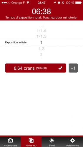Entrer l'exposition initiale, sélectionner le filtre : l'appli calcule le temps de pose avec le filtre, en bonus elle fait timer