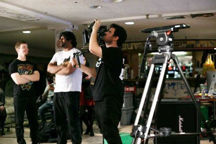 Director Brendan Jessamine framing shots