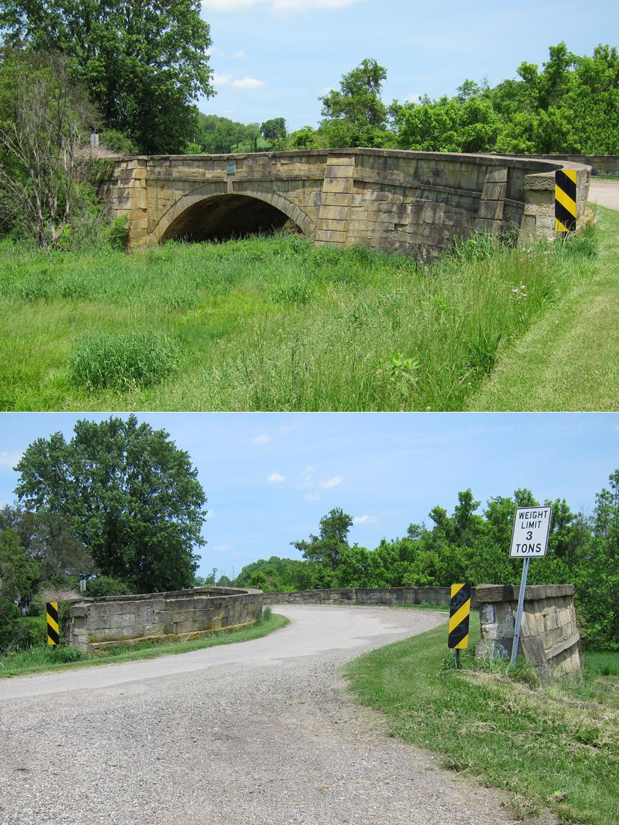 "1828 stone-arch ""S"" bridge, Guernsey County, Ohio"