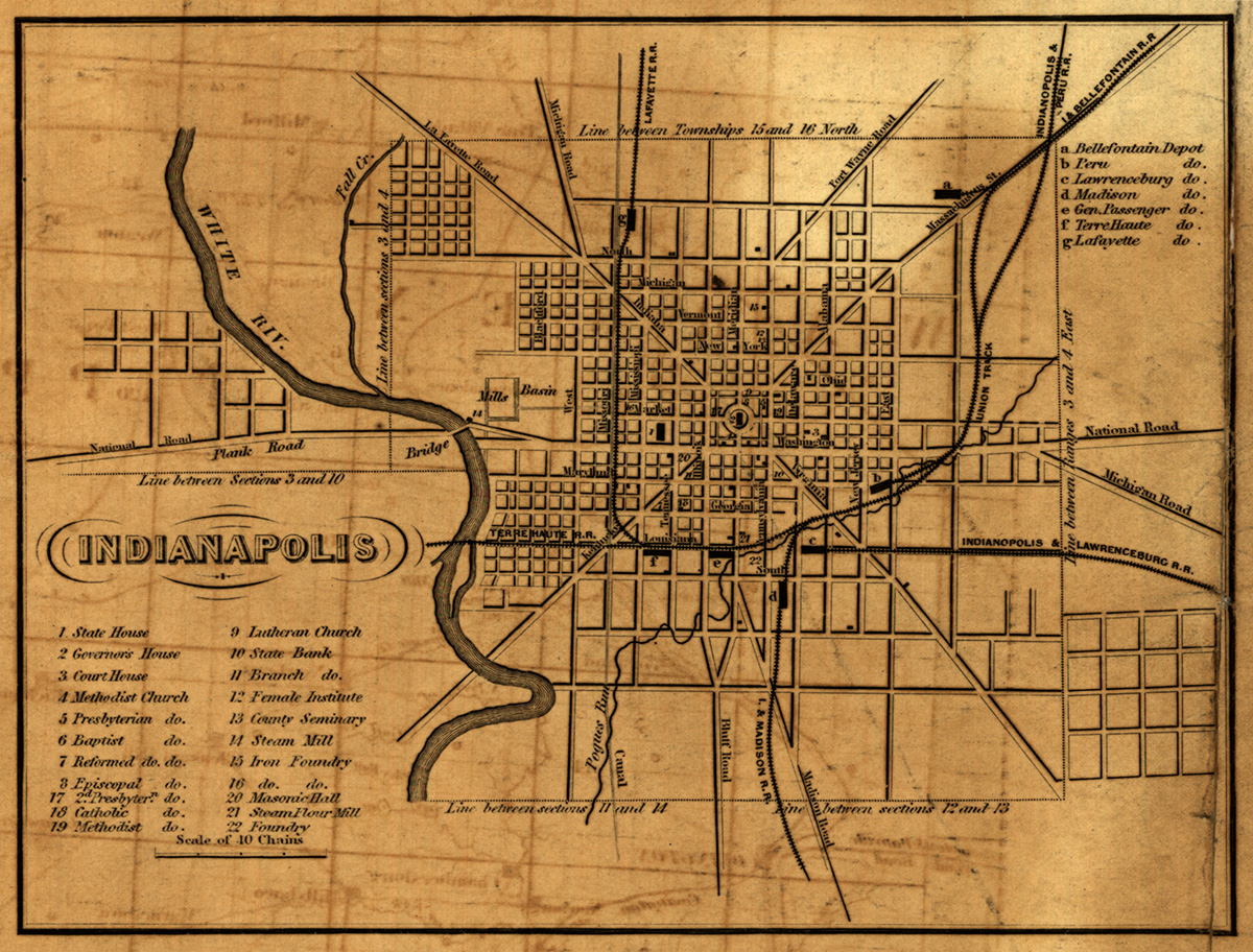 1852 Indianapolis map - Library of Congress