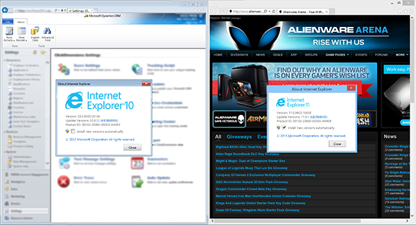 Internet Explorer 10 and 11