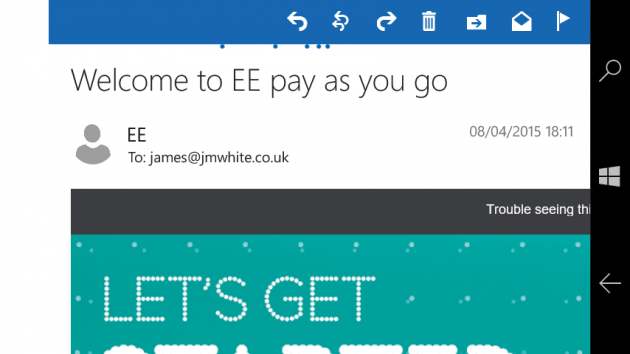 Example EE email campaign in Landscape mode on Outlook Mail