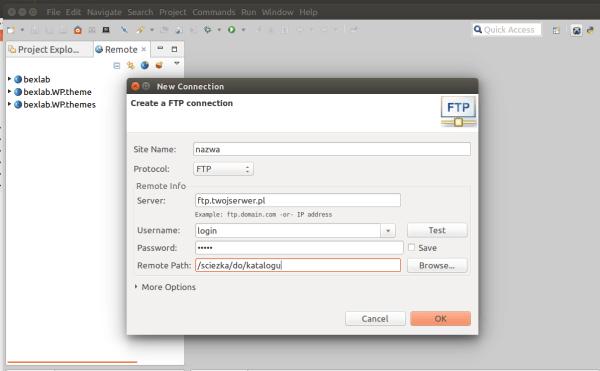 nowe połączenie FTP