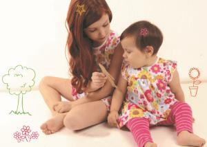 Vestido bebê florido e legging bebê listra