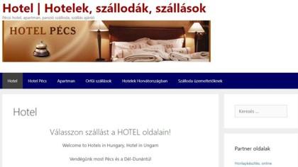Hotel Pécs: a honlap nyitó oldala