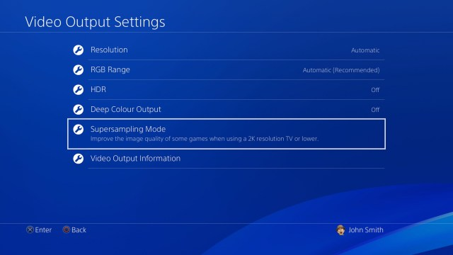 Supersampling Mode for PS4 Pro