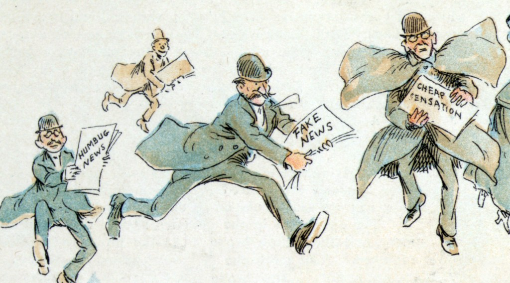 1894 illustration by Frederick Burr Opper showing reporters with various forms of 'fake news'