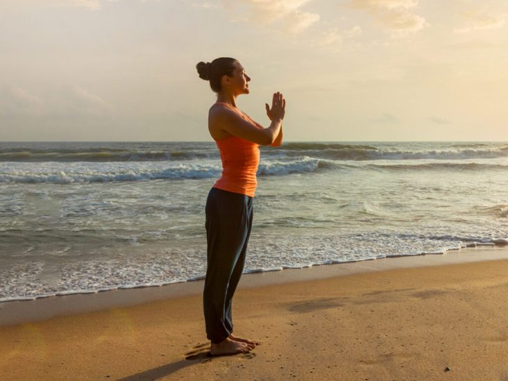 A Lady doing Sun Salutation